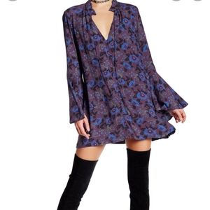 Free People Magic Mystery Tunic Blouse Dress Purple Blue Floral Top Size L